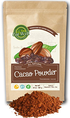 Eat Well Premium Foods - Cacao Powder 32 oz (2 lb) Bag, Dark Cacao Powder, Dutch-Process Cocoa Powder, Unsweetened Cocoa, Baking Cocoa Powder, % 100 Natural