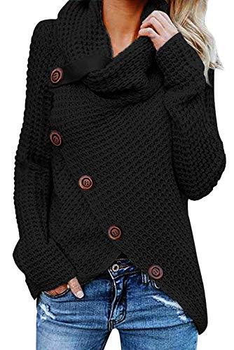 Tuopuda Damen Strickjacke Warm Strickpullover Oversize Rollkragen Winterpullover Lang Outwear Casual Sweatshirt Asymmetrie Oberteil ,Schwarz,M