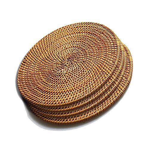 Sottopentola in rattan per piatti caldi isolati, resistente al calore, per tavolo, sottobicchieri, pentole, padelle e teiere, in legno naturale, resistente al calore, set di 4, rotondi da 18 cm