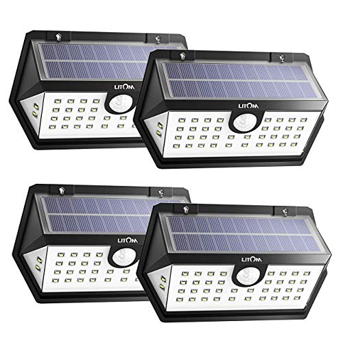 LITOM Solar Lights Outdoor, 40 LED Wireless Wide Angle Motion Sensor Light, IP65 Waterproof Security Solar Light, Three Working Modes for Front Door-4 Pack