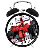 Formula Race Car The Driver Automobile Motorized Sports Theme Strong Engine Red Black White 4 inch Round Silent Analog Alarm Clock Non Ticking,with Night Light Beside/Desk Alarm Clock (Black)