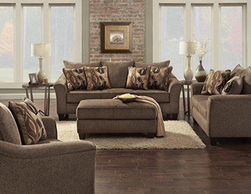 Roundhill Furniture Camero Cafe Fabric 4 Piece Living Room Set