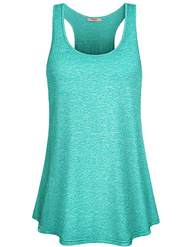 Miusey Workout Tanks,Juniors Stretchy Racerback Tennis Sleeveless Fashion Colors Summer Camouflage Army Activewear Flowy Loose fit Gym Casual Tops Green L