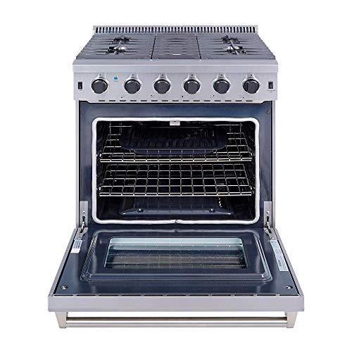 """Thor Kitchen 30"""" Freestanding Pro-Style Gas Range with 4.55 cu.ft. Convection Oven in Stainless Steel, 5 Burners,Cast Iron Reversible Griddle/Grill - LRG3001U"""