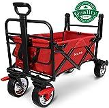 BEAU JARDIN Folding Wagon Trolley Camping Cart with Brake 176lb Capacity Trailer Transport Canvas Fabric Free...
