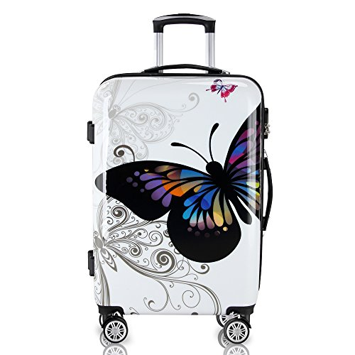 Deuba Butterfly Suitcase Hard Shell Luggage Set with Lock M L XL 360° Wheel Travel (M)