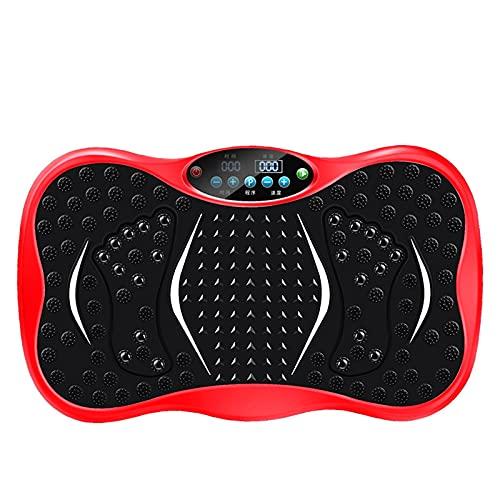 Plataforma Vibratoria Fitness - Máquina De Ejercicio Y Masajes, 4D Plataformas Vibratorias Entrenamiento En Casa, Mando A Distancia, 99 Niveles, Altavoces(Color:Placas de potencia de vibración rojas)