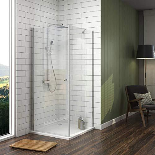 Meykoe Duschkabine 90x90cm Duschabtrennung Duschtür Schwingtür mit Seitenwand, Duschwand 6mm ESG Nano Echtglas Höhe 185cm