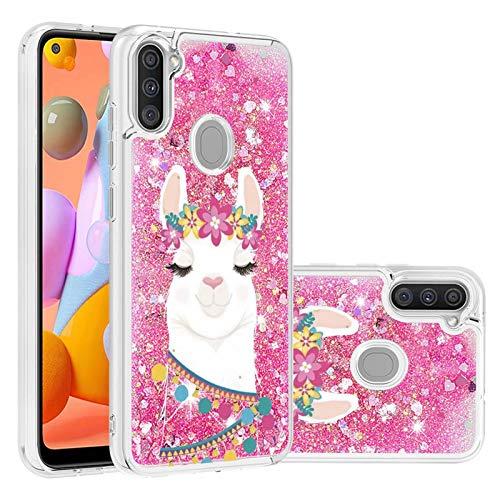 Miagon Flüssig Hülle für Samsung Galaxy A11/M11,Glitzer Treibsand Handyhülle Glitter Quicksand Schutzhülle Bumper Case Cover,Hirsch