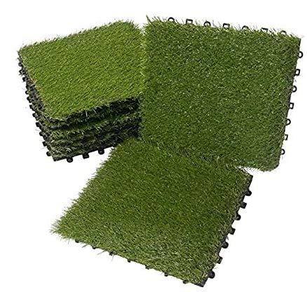 BodenMax LLGRS015025-11 Piastrelle a incastro con clic in erba artificiale | 30 cm x 30 cm x 2,5 cm | Set da 11 piastrelle = 1 m² |