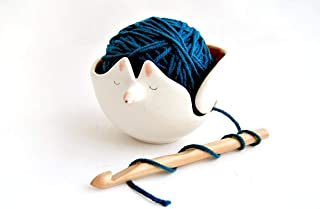 Cuenco Zorro de Cerámica para los Ovillos. Cuenco Lanero de Cerámica con Forma de Zorro. Cuenco Crochet para la Lana. Deco...