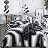 CLOTHKNOW Striped Duvet Cover Set King Cotton Black and White Bedding Sets Men Women Ticking Quilt Set 3Pcs Bedding Cover Sets with Zipper Closure and 2 Pillowcases