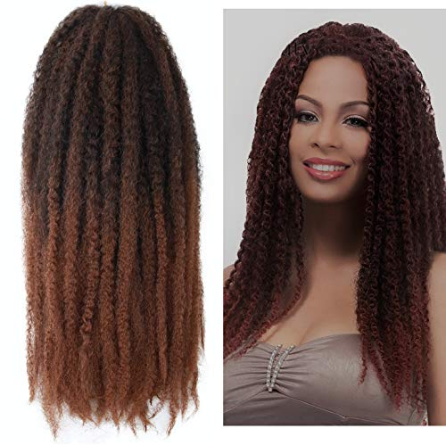 Marley Hair Ombre 4 Packs Afro Kinky Curly Crochet Hair 18 Inch Long Marley Twist Braiding Hair Kanekalon Synthetic Marley Braids Hair Extensions for Women(#T1B/30)
