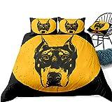 zpangg Ropa de Cama para Perros Juego de Funda nórdica para Animales Juego de Cama Dobermann Textiles para el hogar Amarillos Negro Niños Niños Niñas King