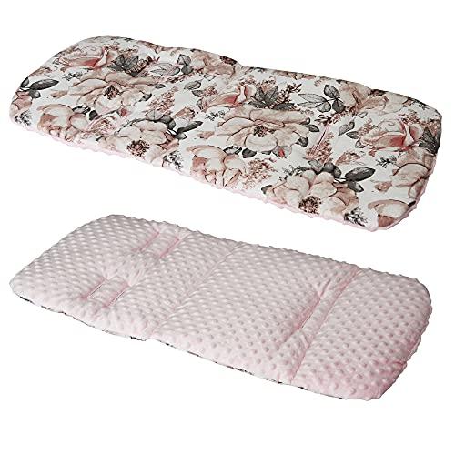 Cotton & Bubble Fleece Pram Insert, Liner Covers 5pt Universal Reversible (Vintage Roses/Pink)