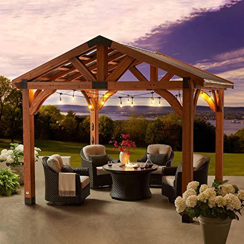 More Sweet Deals Cedar Wood & Metal Gazebo Corbel Design with Electric Capabilities Outdoor Garden All-Season Structure