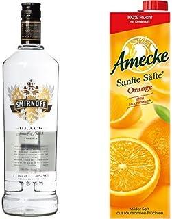 Smirnoff Black Label Vodka 1 x 1 l mit Amecke Sanfte Säfte Orange, 6er Pack 6 x 1 l