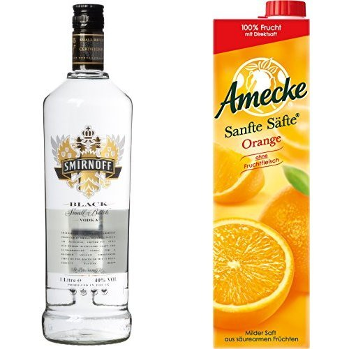 Smirnoff Black Label Vodka (1 x 1 l) mit Amecke Sanfte Säfte Orange, 6er Pack (6 x 1 l)