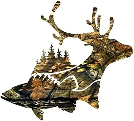 Buck Deer Fish Trees Hunting Decal Buck Deer Sticker decal tumbler yeti decal vinyl sticker product image