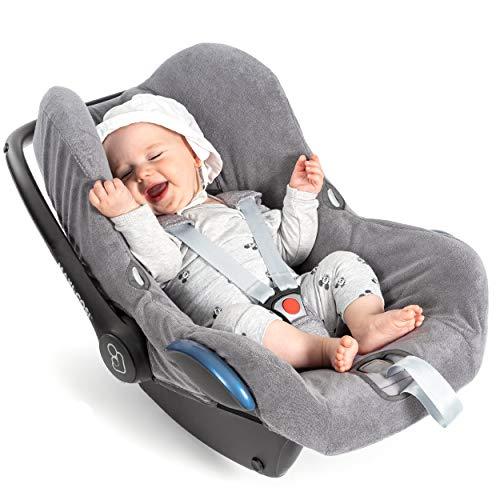 Zamboo Bezug für Maxi Cosi Cabriofix Babyschale - Sommerbezug mit perfekter Passform für Autositz Cabrio-Fix, atmungsaktiv gegen Schwitzen, maschinenwaschbar - Grau (Standard)