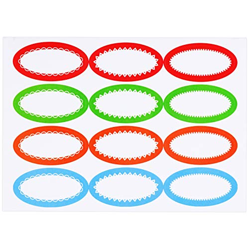240 Pieces Oval Canning Stickers Jelly Jar Labels Self Adhesive Lid Stickers Multicolored Writable Canning Labels for Jar Lids, 3 Designs, 4 Colors, 12 Pieces of Each