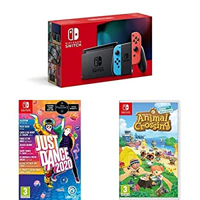Nintendo Switch Neon (Red/Blue) + Just Dance 2020 + Animal Crossing New Horizons from