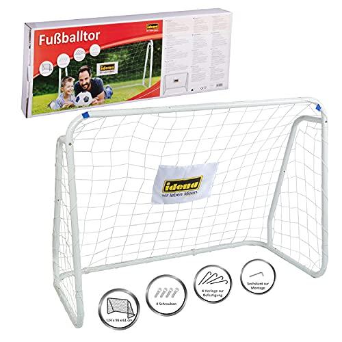 Idena 40099 Bramka do Piłki Nożnej z Metalu z Siatką, Biały, 124 x 96 x 61 cm, SV9453
