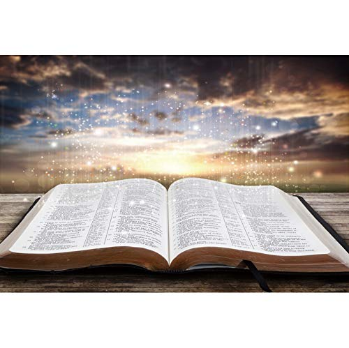 OERJU 10x8ft Holy Bible Backdrop Wisdom Light Bokeh Sunset Jesus Christ Background for Photography Christmas Backdrop Bible School Decor Church Event Decor Xmas Photo Supplies Baptism Party Banner