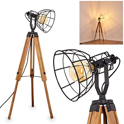 Floor lamp Cetona, Black Metal and Brown Wood - Perfect Light for Living Room - Office - Bedroom - The lamp Shade Rotate, The Height of The lamp is Adjustable