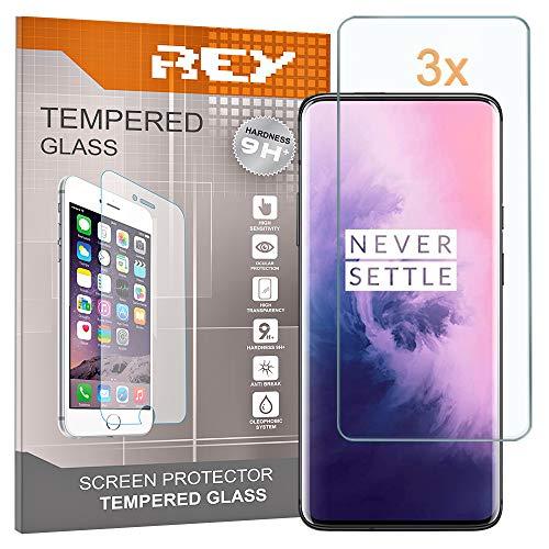 REY 3X Protector de Pantalla para ONEPLUS 7 Pro - One Plus 7 Pro, Cristal Vidrio Templado Premium