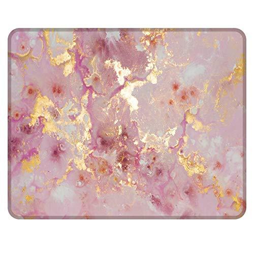NNAKAPAKA Anti-Rutsch-Mauspad Gummi Quadratisches Mousepad Desktop-Notebook Computer-Mausmatte zum Arbeiten und Spielen 260X210mm mit genähter Kante (Marble Pink Golden Bright Marble)