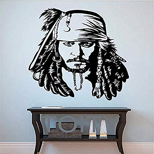 Wohnzimmer Wandaufkleber,Jack Sparrow Wall Decals Pirate Vinyl Decals The Caribbean Movie Poster Home Decor Teen Living Room Bedroom Wall Shield 43x47cm