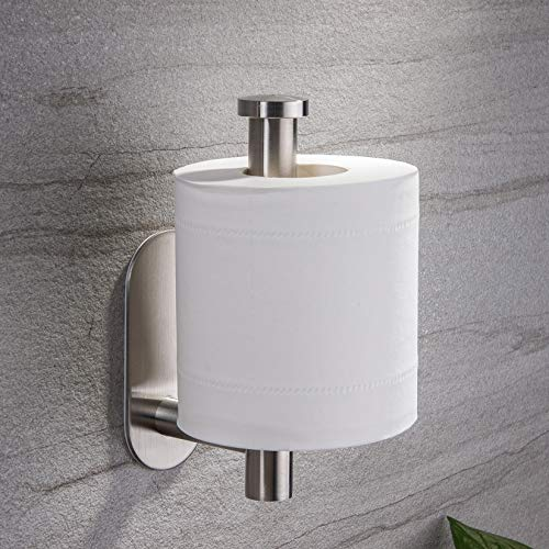 YIGII Toilet Paper Holder Self Adhesive - Adhesive Toilet Roll Holder no Drilling for Bathroom Stainless Steel Brushed
