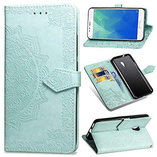 Ycloud PU Leder Tasche für Meizu M5S Kunstleder Wallet Flip Case mit Standfunktion Kartenfächer Entwurf Mandala Prägen Grün Hülle für Meizu M5S