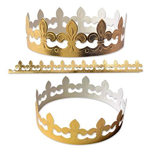 10 Stk. Kronen, gold | aus Papier | zum Zusammenstecken | Heilige Drei Könige