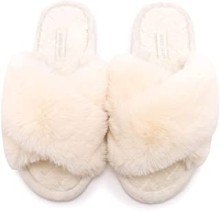 Women's Cross Band Soft Plush Fleece House Indoor Outdoor Slippers