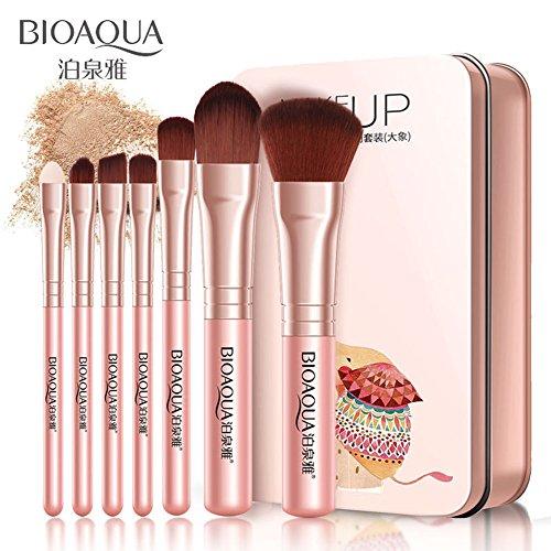 MongKok - Juego de 7 brochas de Maquillaje para el Labio de los Ojos, Maquillaje para la Cara, Juego de Pinceles de Maquillaje de Fibra Suave