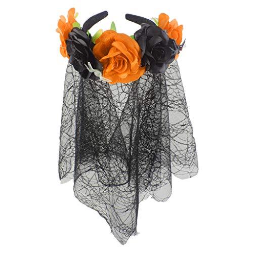 FEDULK Womens Adjustable Headband Spider Mesh Halloween Headdress Rose Flower Prom Accessories(Orange)