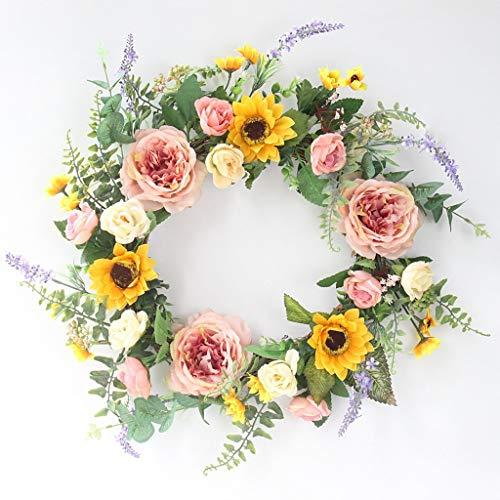 WHL Hängender Kranz Künstliche Blumen Silk Blumen-Sonnenblume Pfingstrose Kranz Türdeko Tür Ring Seidenstoff Dekorative Außenhaustür Kranz Heimtextilien