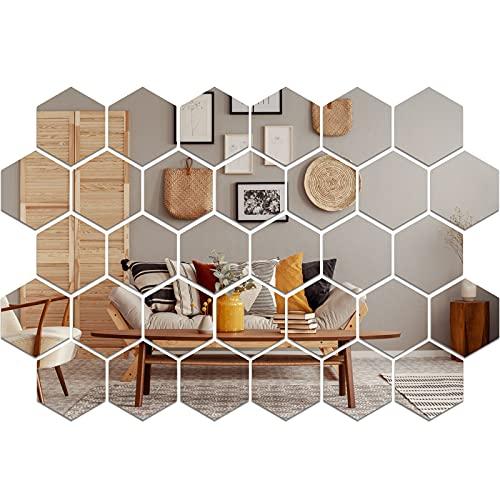 32 Piezas Pegatinas de Espejos de Acrílico Pegatinas Extraíbles de Pared de Espejo 3D Calcomanía Adhesiva Hexagonal de Pared de Azulejos de Espejo para Decoración de Sala de Estar Hogar