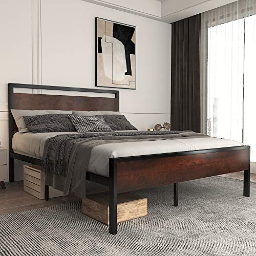 """Allewie Queen Size Platform Bed Frame with Wood Headboard and Footboard, Heavy Duty Metal Slat Support Mattress Foundation, 12"""" Under Bed Storage, Non-Slip Without Noise, Mahogany"""