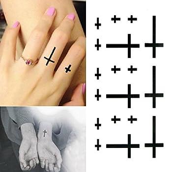 Oottati Small Cute Temporary Tattoo Cross Finger Wrist  Set of 2