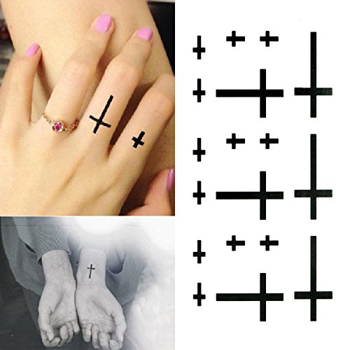 Oottati Small Cute Temporary Tattoo Cross Finger Wrist (Set of 2)