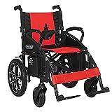 LOLRGV Elektro-Rollstühle Faltbarer Leichtantrieb Transport Reisen Rollstuhl mit Geländer für Behinderte -