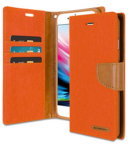 iPhone 8 Plus/iPhone 7 Plus Wallet Case with Free 6 Gifts [Shockproof] GOOSPERY Canvas Diary [Ver.Magnetic] Card Holder with Kickstand Flip for Apple iPhone7Plus/8Plus - Orange, IP8P-CAN/GF-ORG