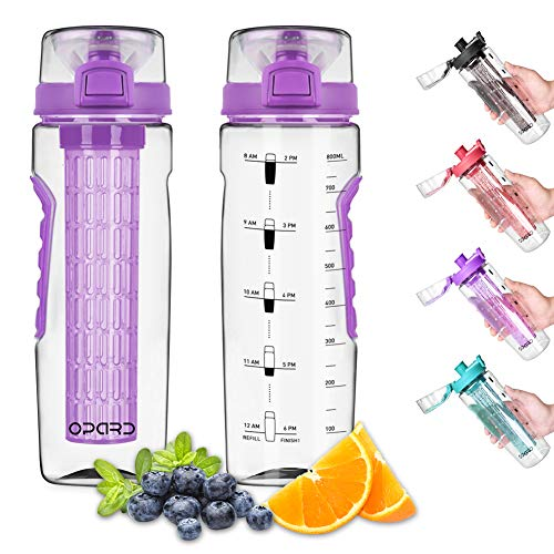 Opard Water Bottle with Time Marker, 30 oz Sports BPA Free Plastic Reusable Fruit Infuser Water Bottles with Handle, Leak Proof Flip Top Lid, Infusion Rod, Cleaning Brush and Recipe (Purple)