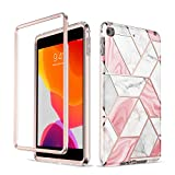 Troniker Stylish Bumper Case Designed for iPad Mini 5 Case/iPad Mini 4 Case Without Built-in Screen Protector Full-Body Protective Case Cover for Cute Girls Women Boys (Pink Marble)