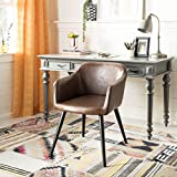 Safavieh Home Adalena Mid-Century Brown Faux Leather and Black Accent Chair