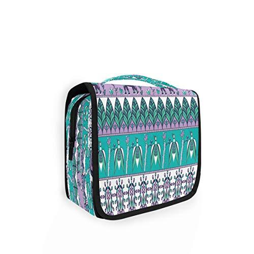 Kulturtasche zum Aufhängen, Ethno-Stil, Boho-Stil, Elefant und Vögel, Organizer, Kulturbeutel, Kosmetiktasche, Make-up-Tasche, Reisetasche mit 4 Fächern für Frauen