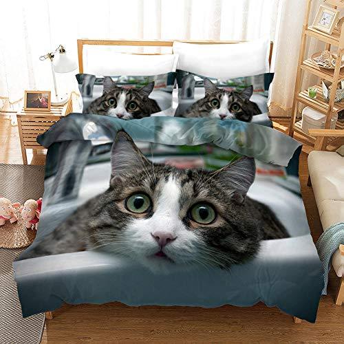 aakkjjzz Single Duvet Cover Sets 3 Pcs Easy Care Luxurious Bedding Set Microfiber for Kids Boys Girl Cute Kitten Quilt Duvet Cover 135X200cm and 2 Pieces Pillowcases 50X75cm for Double Bed